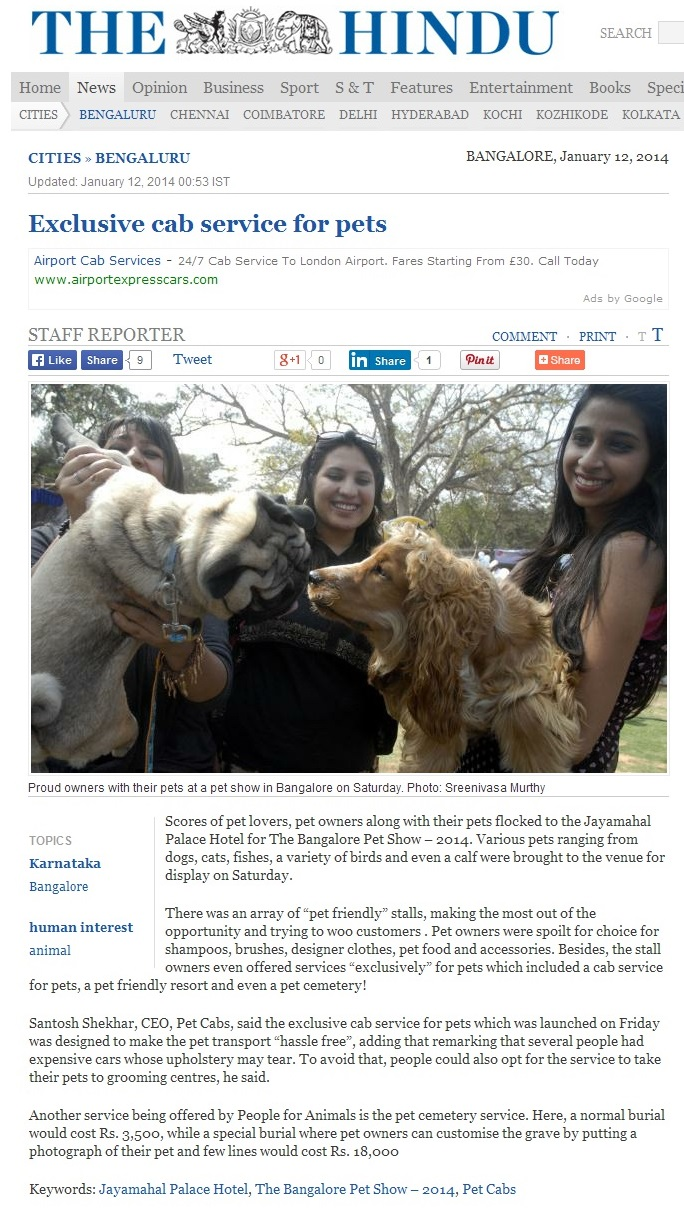 "PetCab In ""The Hindu"""