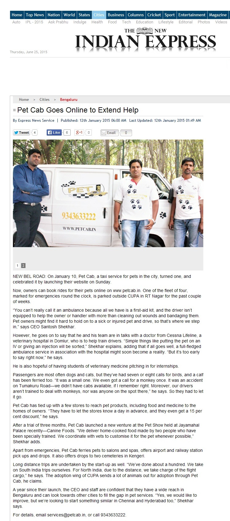 Petcab In 'The New Indian Express'